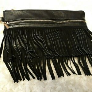 Imoshion Black FRINGE Clutch Wristlet Bohemian NEW